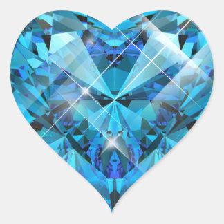 Blue Gem Heart Sticker