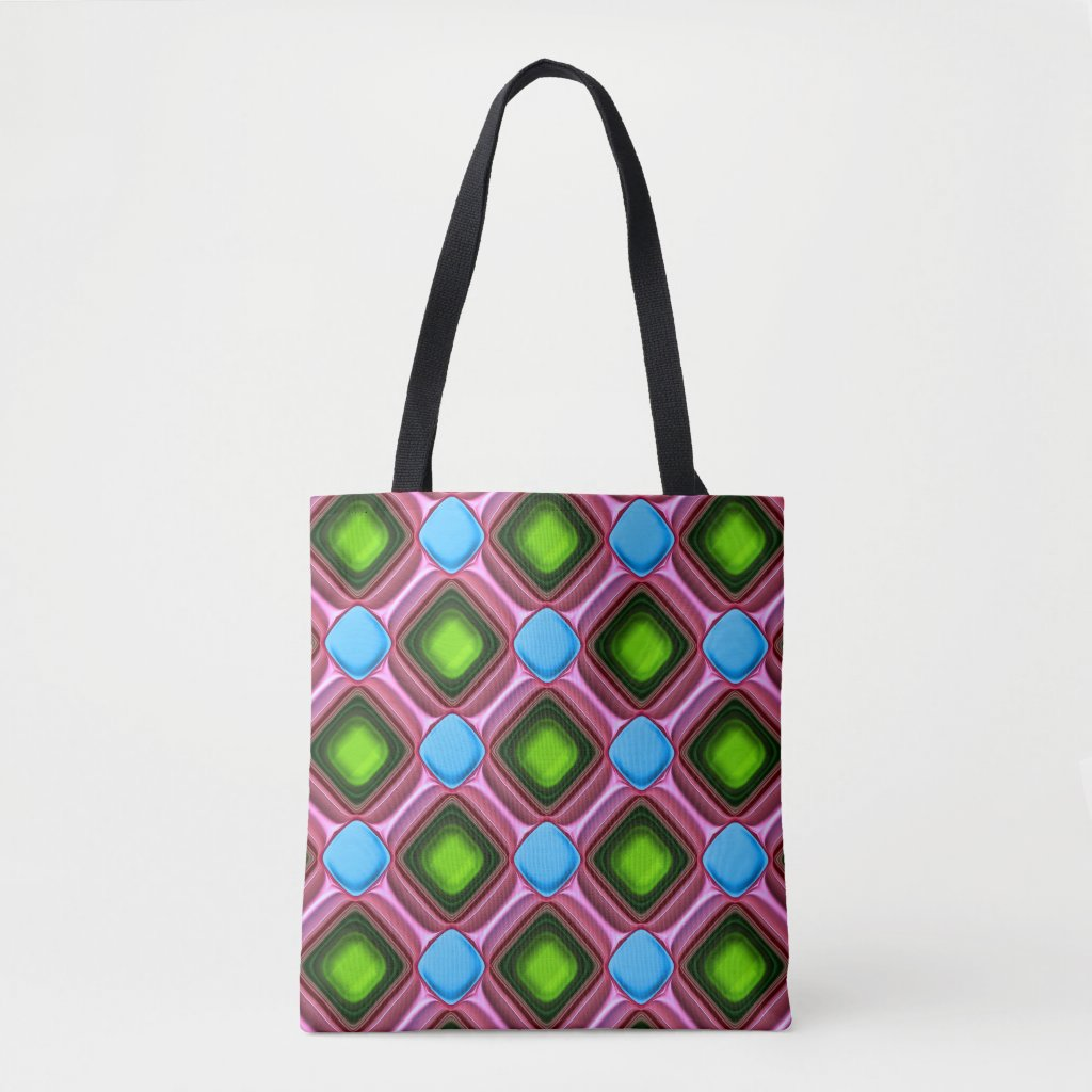 Blue Gem Pattern Tote Bag