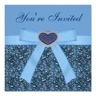 "Blue Gem Stones, Bow & Heart Jewel Invites 5.25"" Square Invitation Card"