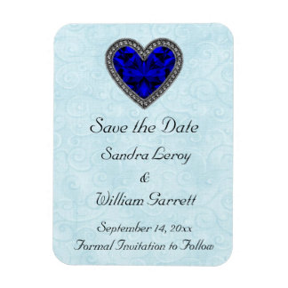 Blue Gemstone Heart Save the Date Magnet