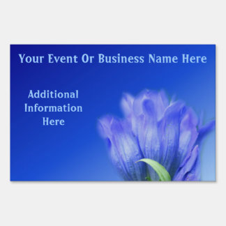 Blue Gentian Flower Business Or Event Yard Sign