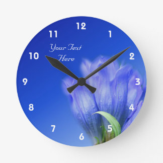 Blue Gentian Flower Personalized Round Clock