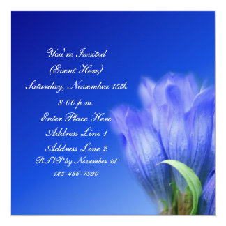 Blue Gentian Flower Square Invitation