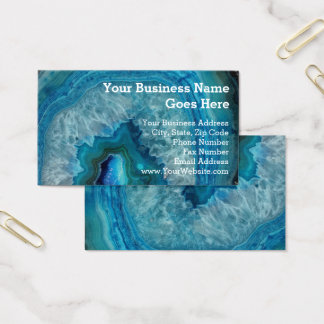 Blue Geode Rock Mineral Agate Crystal Image Business Card
