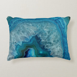 Blue Geode Rock Mineral Agate Crystal Image Decorative Pillow