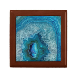 Blue Geode Rock Mineral Agate Crystal Image Jewelry Box
