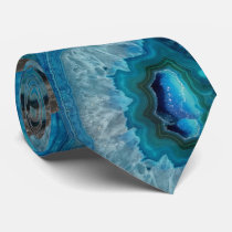 Blue Geode Rock Mineral Agate Crystal Image Tie