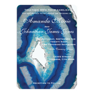 Blue Geode Wedding Invitation