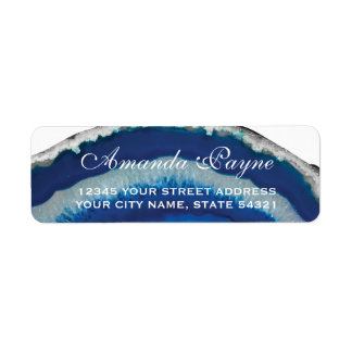 Blue Geode Wedding Label