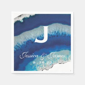 Blue Geode Wedding Monogram Paper Napkin