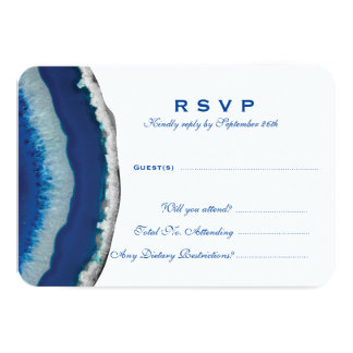 Blue Geode Wedding Response Card (Detailed)