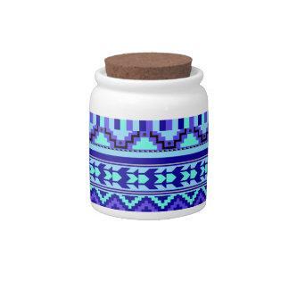 Blue Geometric Abstract Aztec Tribal Print Pattern Candy Jars