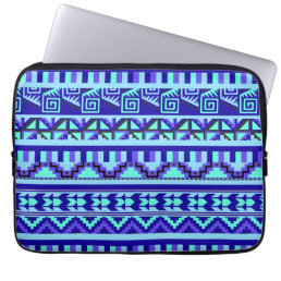 Blue Geometric Abstract Aztec Tribal Print Pattern Computer Sleeve
