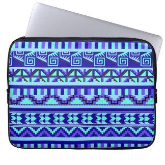 Blue Geometric Abstract Aztec Tribal Print Pattern Computer Sleeve