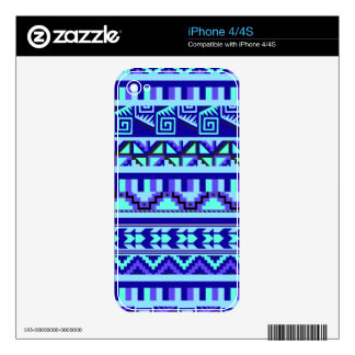 Blue Geometric Abstract Aztec Tribal Print Pattern Decal For The iPhone 4