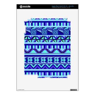 Blue Geometric Abstract Aztec Tribal Print Pattern iPad 3 Decal