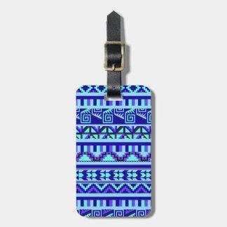Blue Geometric Abstract Aztec Tribal Print Pattern Luggage Tag