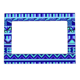 Blue Geometric Abstract Aztec Tribal Print Pattern Magnetic Picture Frame