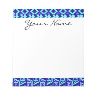 Blue Geometric Abstract Aztec Tribal Print Pattern Notepad