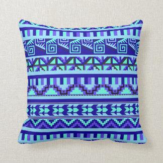 Blue Geometric Abstract Aztec Tribal Print Pattern Throw Pillows