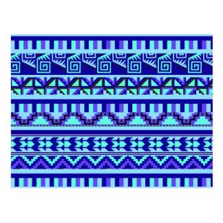 Blue Geometric Abstract Aztec Tribal Print Pattern Postcard
