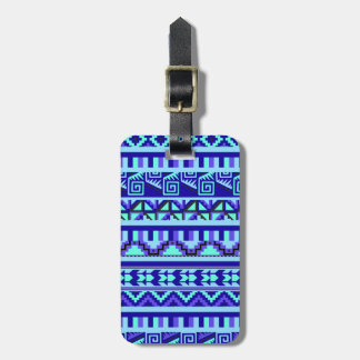 Blue Geometric Abstract Aztec Tribal Print Pattern Tag For Luggage