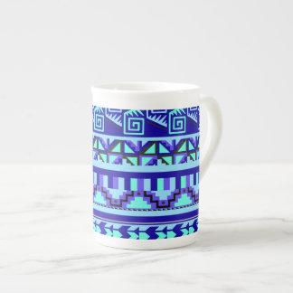 Blue Geometric Abstract Aztec Tribal Print Pattern Tea Cup