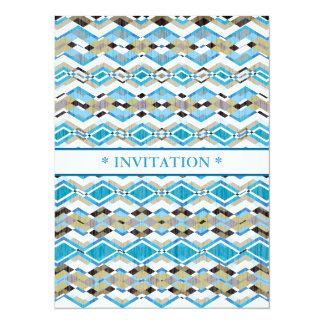 Blue Geometric Aztec Pattern Card