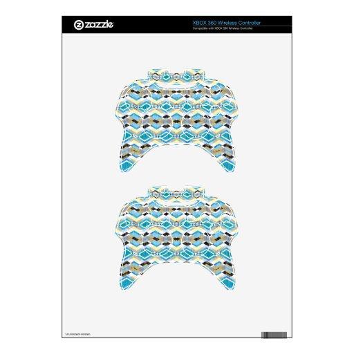 Blue Geometric Aztec Pattern Xbox 360 Controller Skin