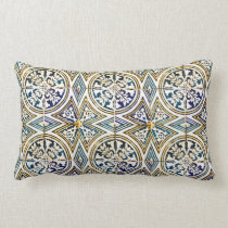 Blue Geometric Azulejo Pattern Cushions