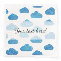 Blue Geometric Clouds Pattern Paper Dinner Napkin