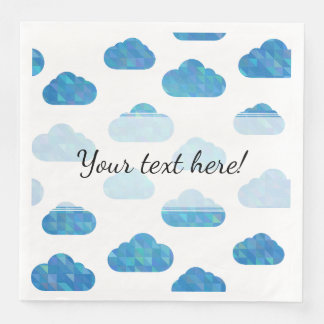Blue Geometric Clouds Pattern Paper Dinner Napkin