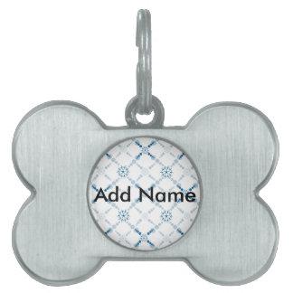 Blue Geometric Crop Circles Pet ID Tag
