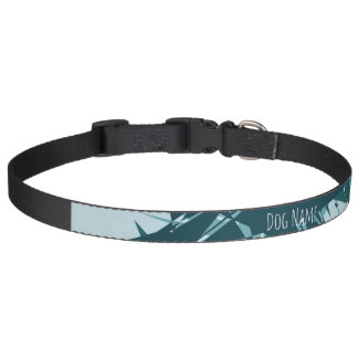 Blue Geometric Customizable Dog Collar