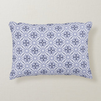 Blue Geometric Diamond Pattern, Plain Blue Back Decorative Pillow