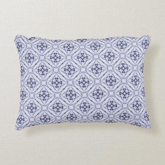 Blue Geometric Diamond Pattern, Plain Blue Back Accent Pillow