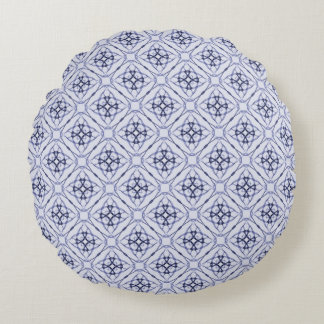 Blue Geometric Diamond Pattern, Plain Blue Back Round Pillow