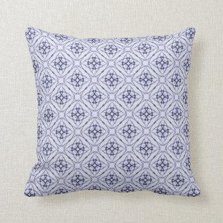 Blue Geometric Diamond Pattern, Plain Blue Back Pillows