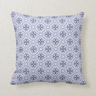 Blue Geometric Diamond Pattern, Plain Blue Back Throw Pillow