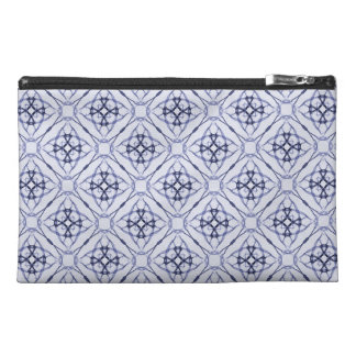 Blue Geometric Diamond Patterned Travel Accessory Bag