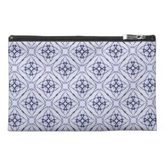 Blue Geometric Diamond Patterned Travel Accessories Bag