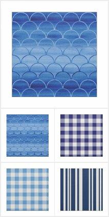 Blue Geometric Fabrics