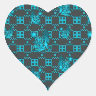 Blue Geometric Flower Pattern Heart Sticker