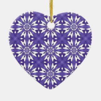 Blue geometric flowers ceramic ornament