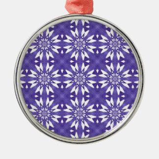 Blue geometric flowers metal ornament