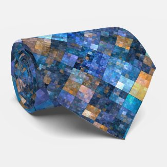 Blue Geometric Mosaic Pattern Tie