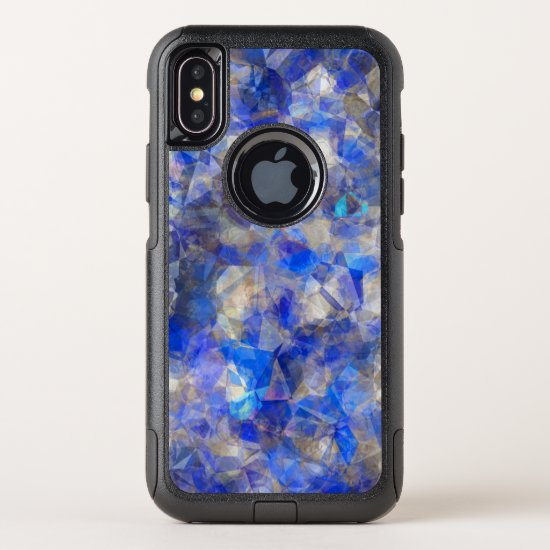 Blue Geometric Pattern Simulated Glass OtterBox Commuter iPhone X Case