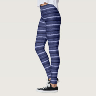 Blue Geometric Stripe Leggings