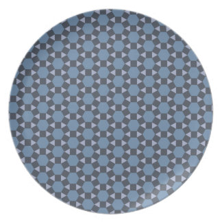 Blue Geometric Tiled Tessellation Pattern Dinner Plate
