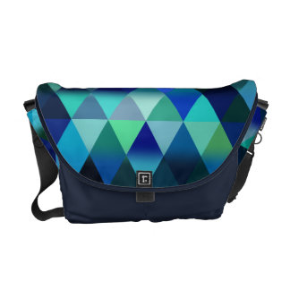 Blue Geometric Triangle Pattern Design Courier Bag